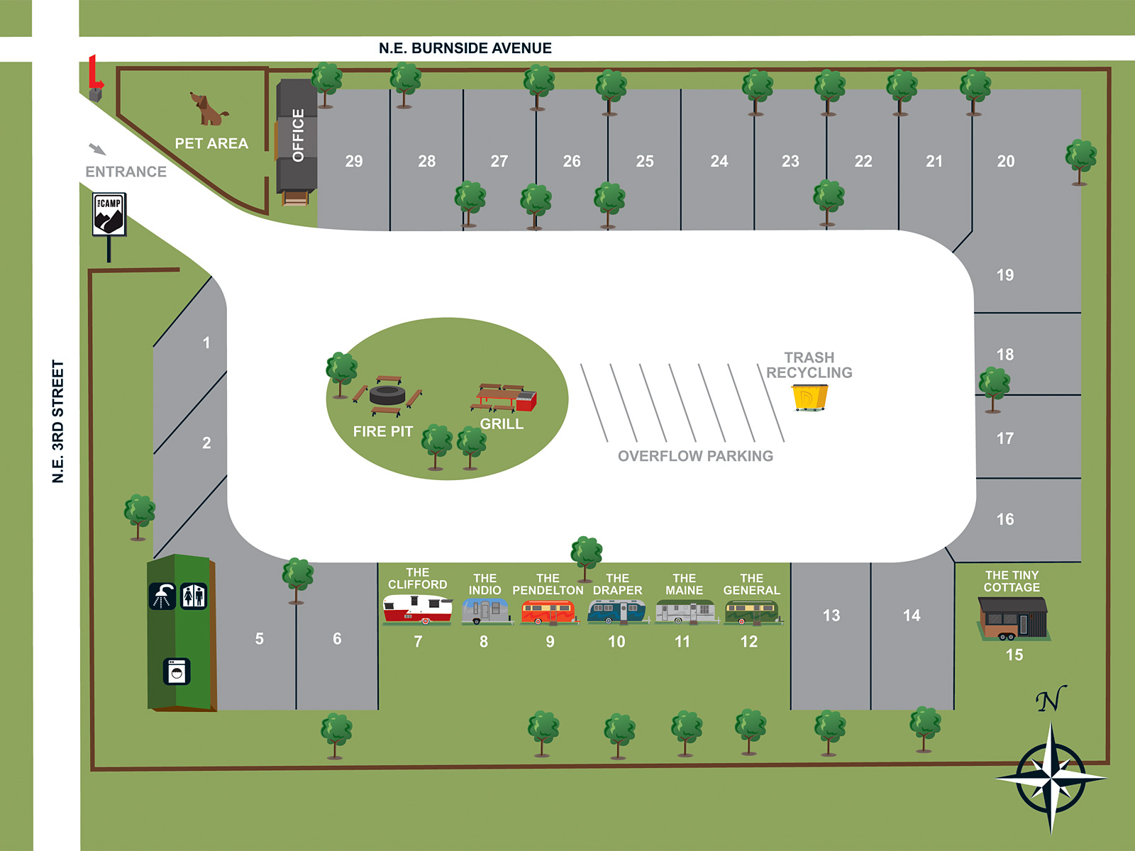 Floor Plan for Van / Small RV Pad #2 (25'D x 18'W)