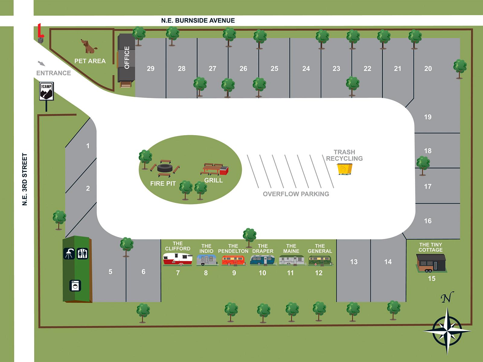 Floor Plan for RV Pad #27 (51'D x 25'W)